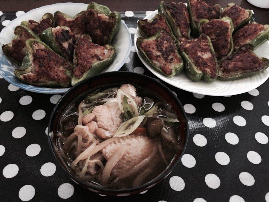 人妻さん日誌:ピーマンの肉詰め い